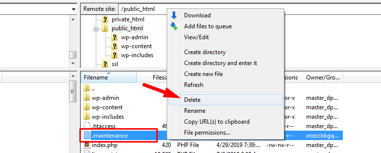 How to Delete .maintenance file in C-penal using FileZilla,how to put wordpress site in maintenance mode,wordpress maintenance mode,wordpress stuck in maintenance mode plugin