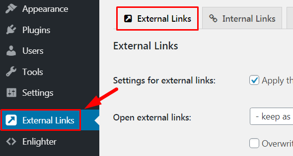 External Link, How to Open WordPress Menu Item in a New