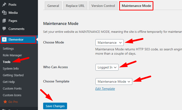 activate maintenance mode Using Elementor Page Builder