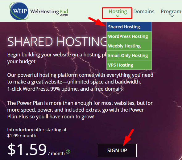 Shared Hosting, Sign Up