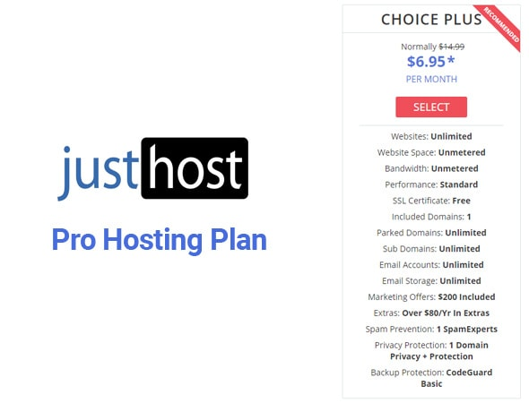 JustHost Pro Hosting Plan