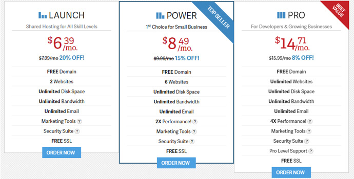 InMotionweb hosting pricing plans, website hosting for small businesses