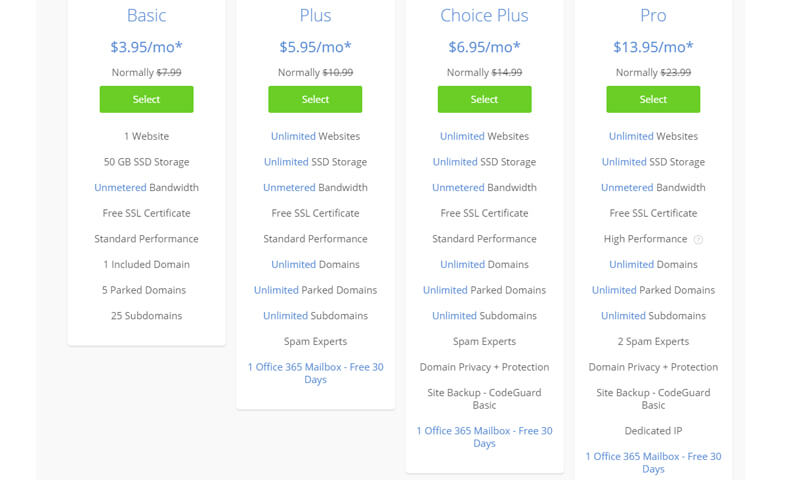 Shared Web Hosting Pricing Plans by bluehost, web hosting for developers