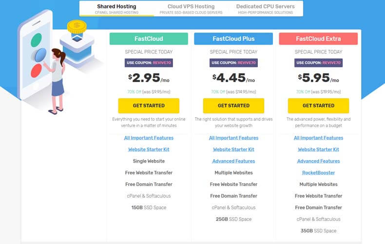 Shared Cloud SSD Hosting Pricing Plans by fastcomet, best hosting for developers