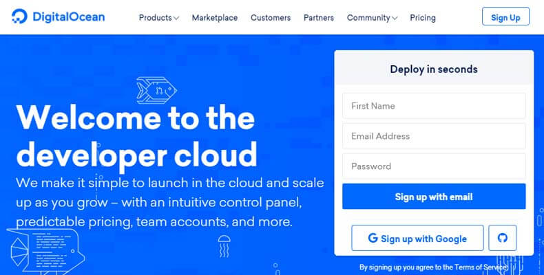 digitalocean home page, best ruby on rails hosting services