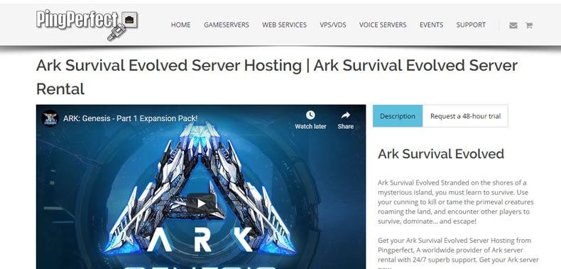 pingperfect ark hosting, best ark server hosting