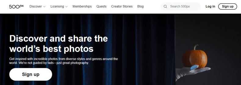 500px index page, best web hosting for photography business