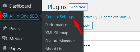 All in One SEO tab to General Settings
