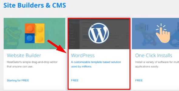 HostGator Site Builders & CMS to WordPress section