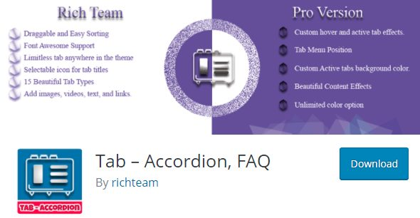 Tab – Accordion, FAQ Plugin, wordpress responsive accordion plugins