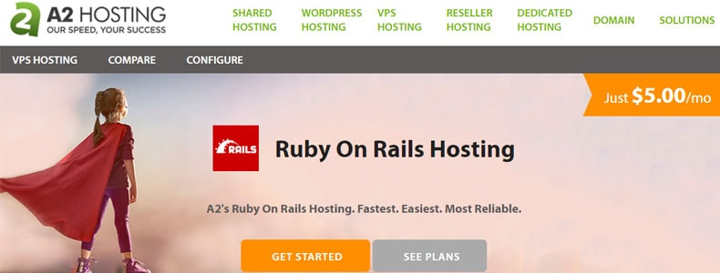a2hosting Ruby on Rails Hosting plan, ruby web hosting