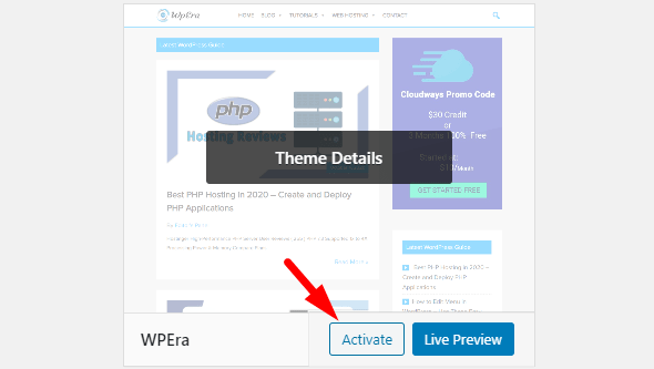 activate button in wordpress theme