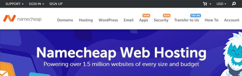 namecheap web hosting page, best web hosting for churches