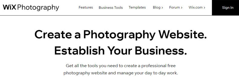 WIX index page, best website hosting for photographers