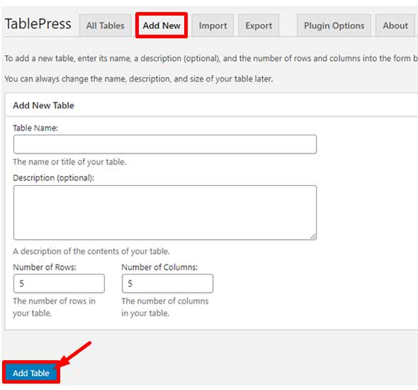 how to add a table in wordpress page, TablePress add new form