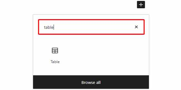 search table on a block